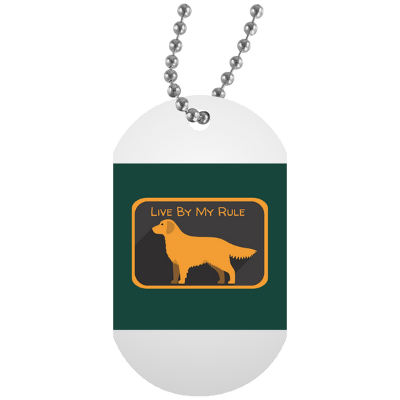 Golden my rule square green UN5588 White Dog Tag