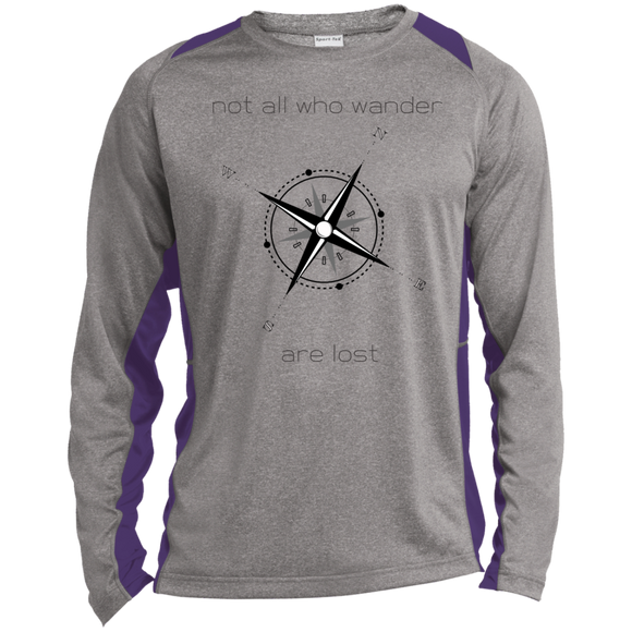 Not All Who Wander Long Sleeve Heather Colorblock Poly T-shirt