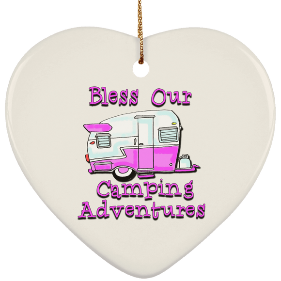 Bless adventures pink SUBORNH Ceramic Heart Ornament
