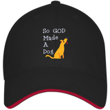 God Made A Dog 3621 Bayside USA Made Structured Twill Cap With Sandwich Visor