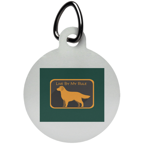 Golden my rule square green UN5773 Circle Pet Tag