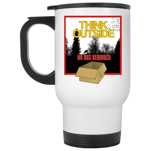 Think Outside White Travel Mug