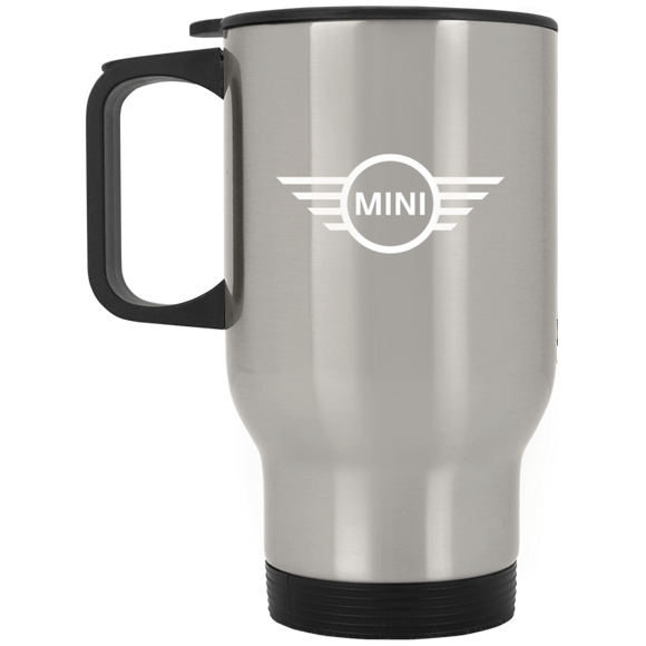 white mini XP8400S Silver Stainless Travel Mug