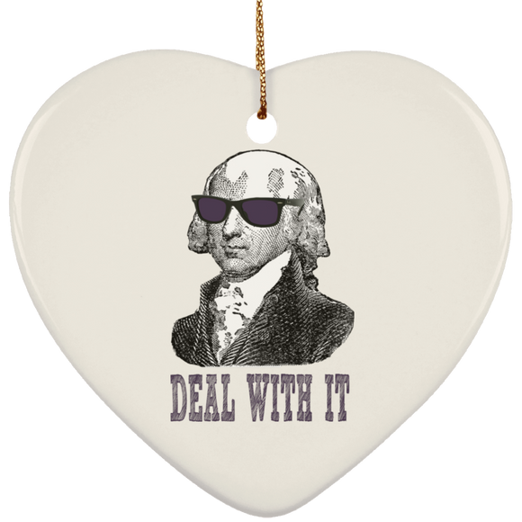 Madison deal with it dark text SUBORNH Ceramic Heart Ornament