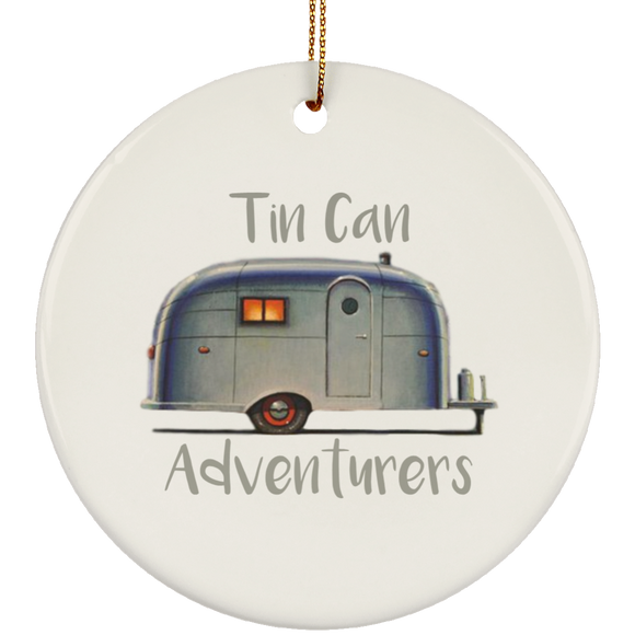 Old Airstream w/Personalized Text SUBORNC Ceramic Circle Ornament
