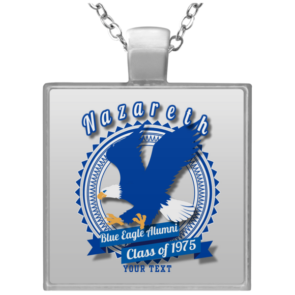 Blue Eagle Alumni Personalized UN4684 Square Necklace