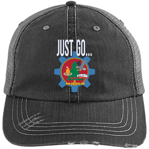 Just Go Distressed Unstructured Trucker Cap