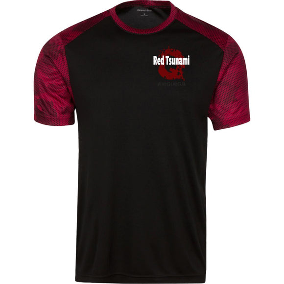Red tsunami ST371 Sport-Tek CamoHex Colorblock T-Shirt