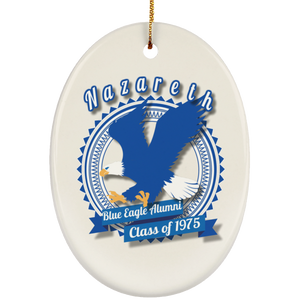 Blue eagle alumni badge SUBORNO Ceramic Oval Ornament