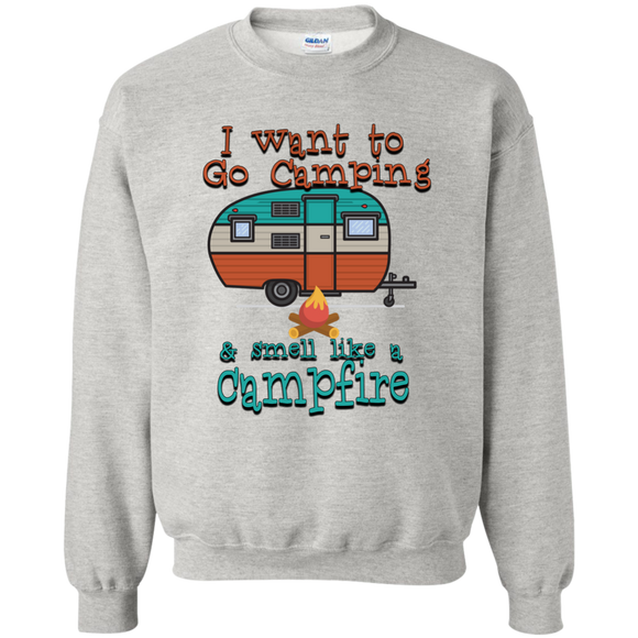 Smell Like A Campfire Printed Crewneck Pullover Sweatshirt  8 oz