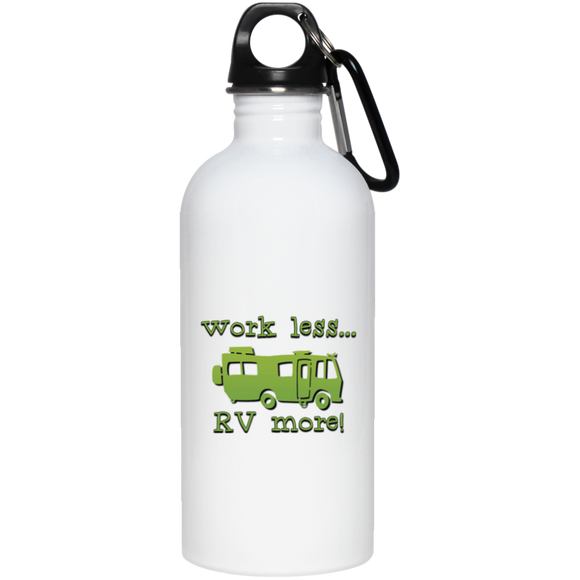 Work Less 20 oz Stainless Steel Water Bottle