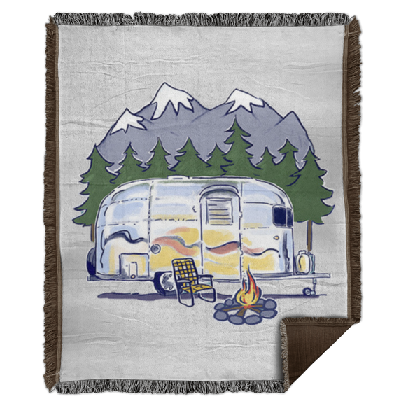 Airstream campfire art WB56 Woven Blanket - 50x60