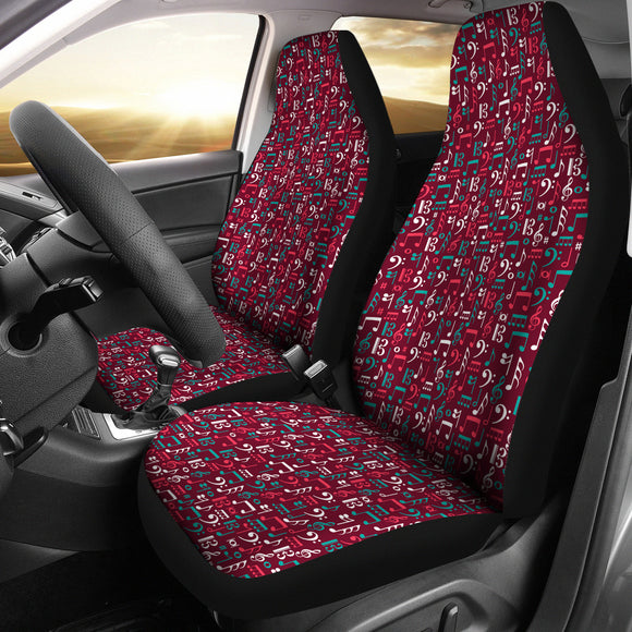 Red Musi Notes Car Seat Cover