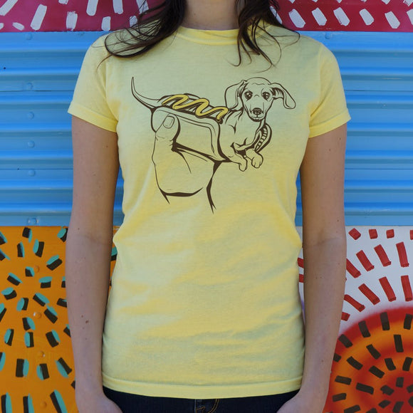 Ladies Hot Dog Dog T-Shirt