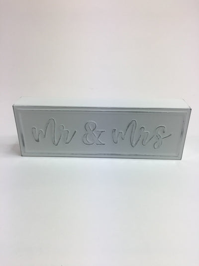Mr & Mrs metal plaque