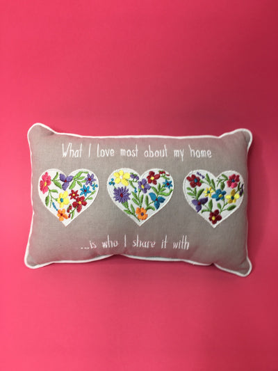 Floral heart design cushion