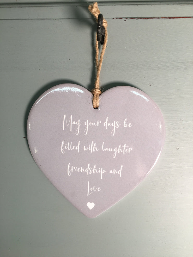 Laughter, Friendship & Love Ceramic Heart