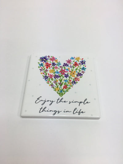 Simple things floral heart coaster