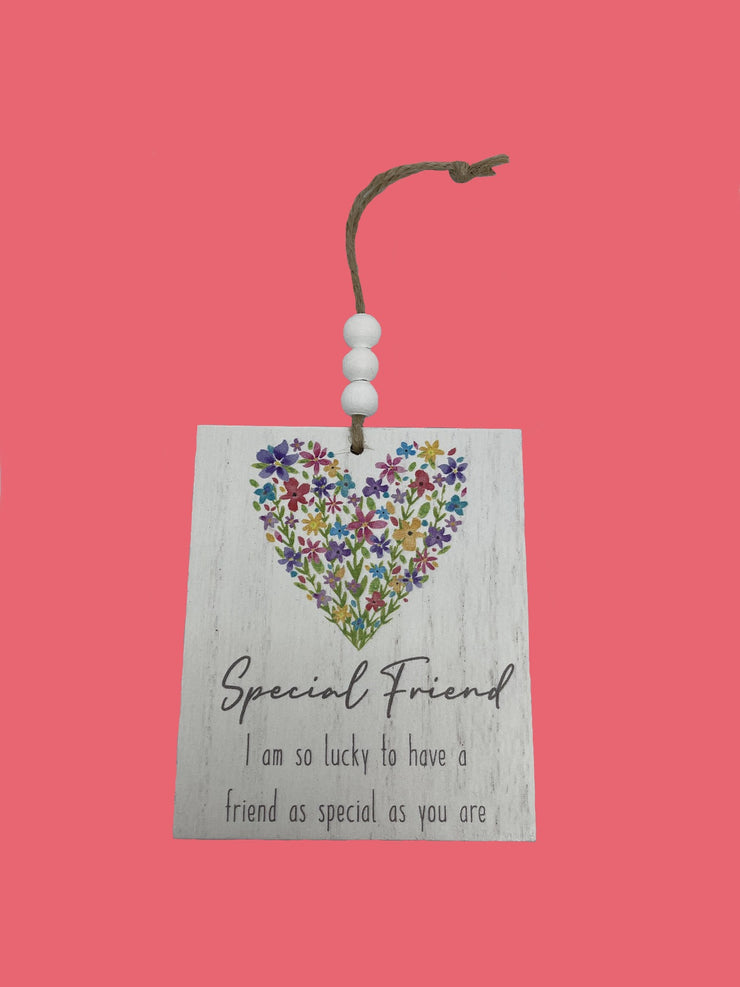 Special friend floral heart plaque