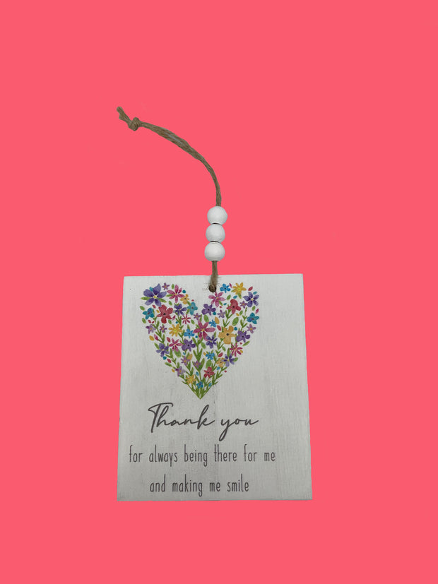 Thank you floral heart plaque