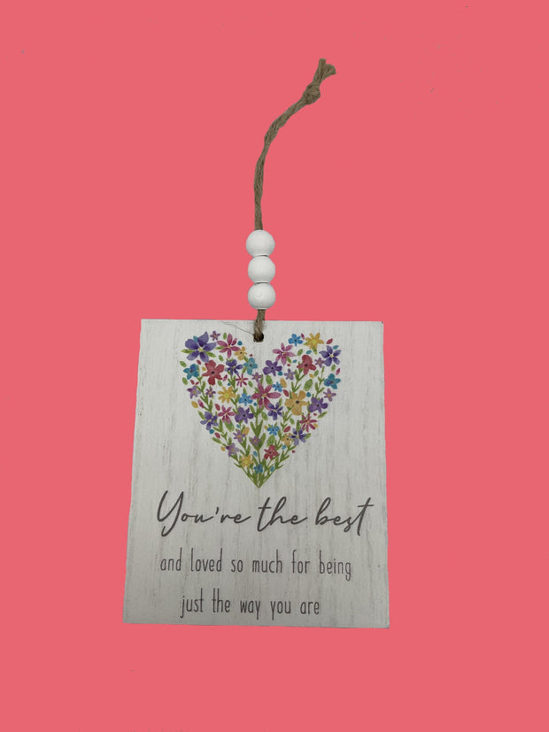 You're the best floral heart plaque