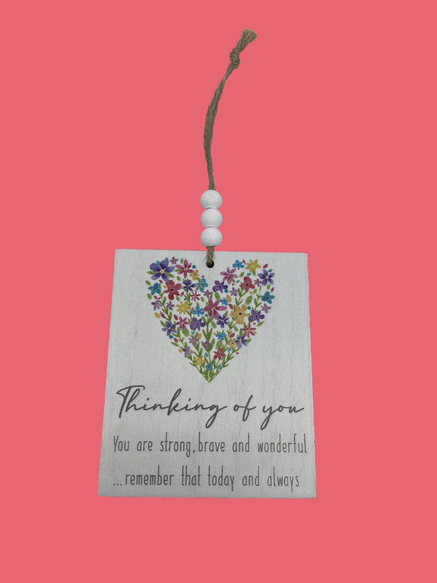 Thinking of you floral heart plaque