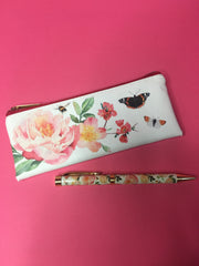 Floral garden pen & pencil case set