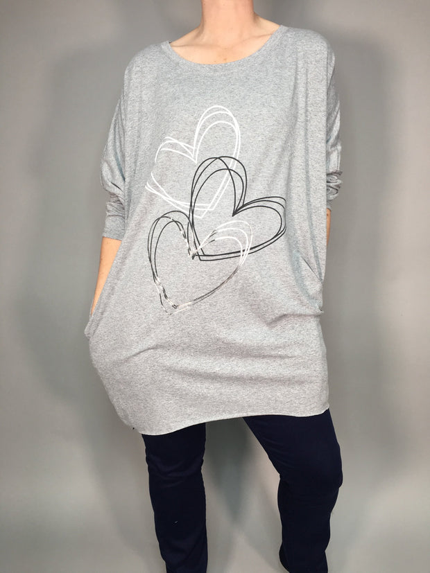 Metallic heart pocket tunic