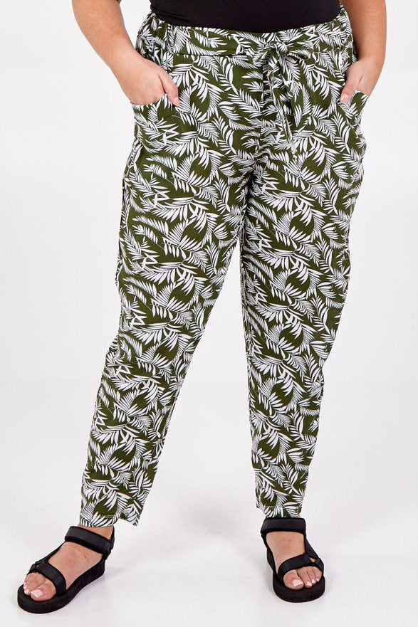 Curve tropical print trousers