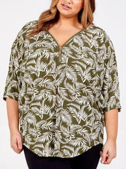 Curve tropical print zip top