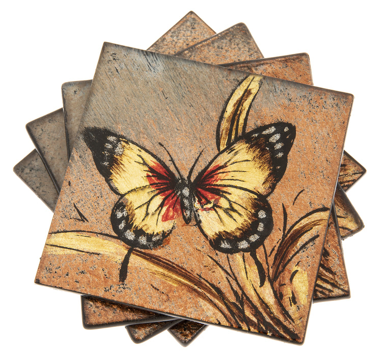 Set of 4 Ruby Butterfly Coasters