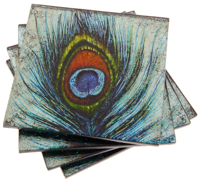 Set of 4 Peacock Feather Coasters