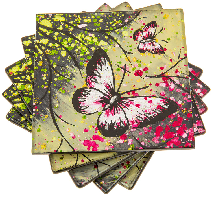Set of 4 Forest butterfly coasters