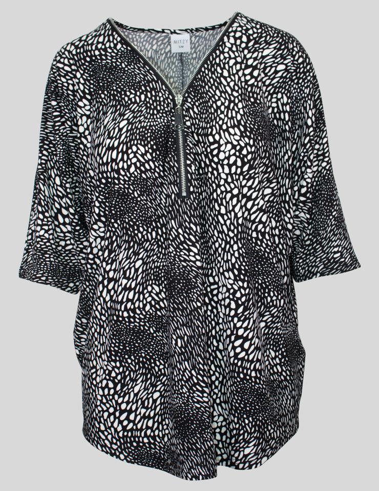 MITZY Animal Print Zip Top
