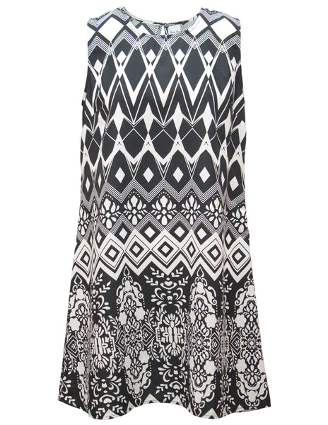 Sleeveless Shift Dress In Mono Print