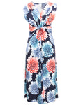 Sleeveless Flower Print Midi Dress
