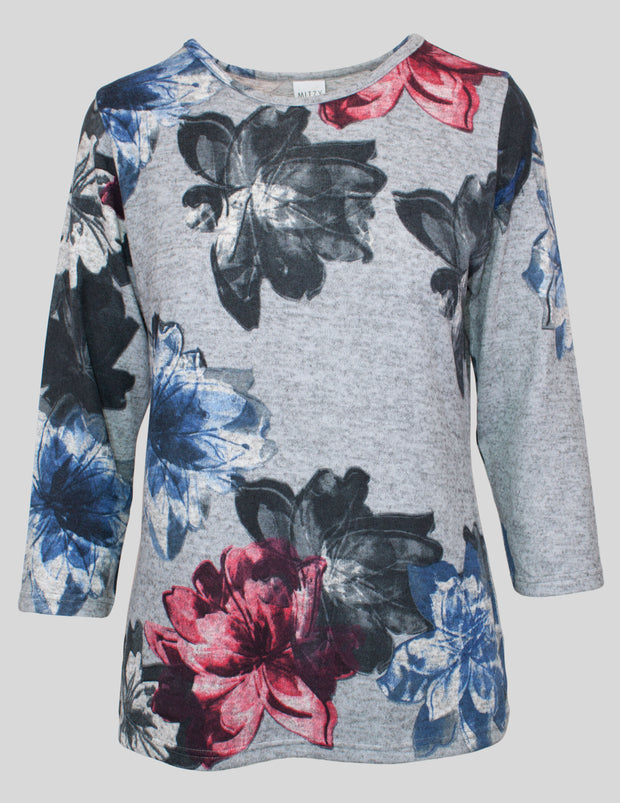 MITZY 3/4 Sleeve Flower Brushed Top