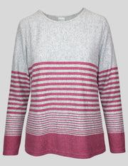 MITZY Long Sleeve Stripe Brushed Top