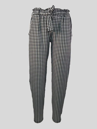 Dogtooth Print Paperbag Waist Trouser
