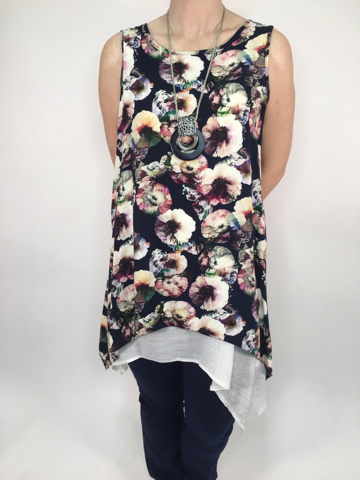 Sleeveless Abstract Flower Tunic With Necklace