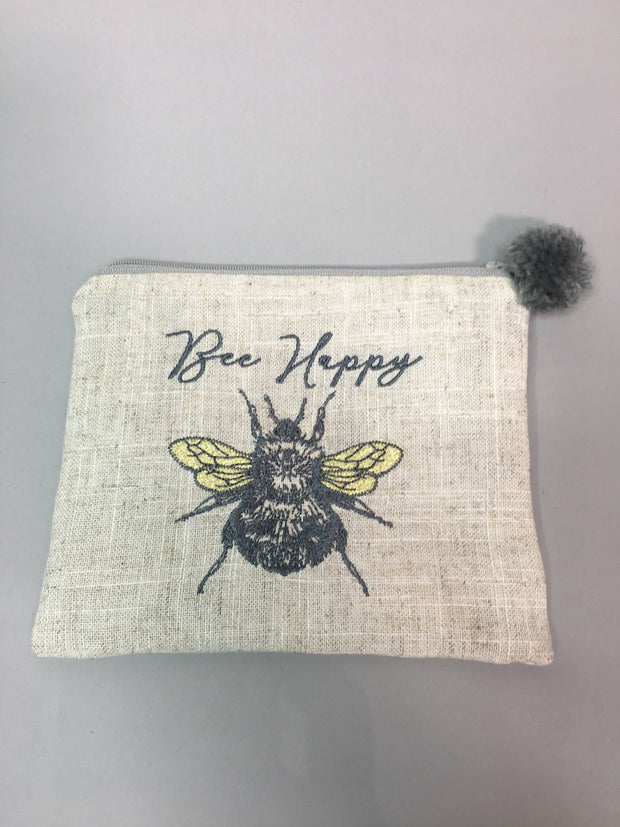 Bee happy pom pom pouch
