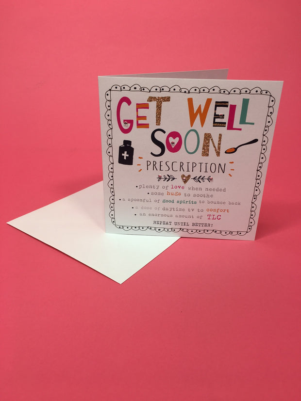 Get well soon prescription card