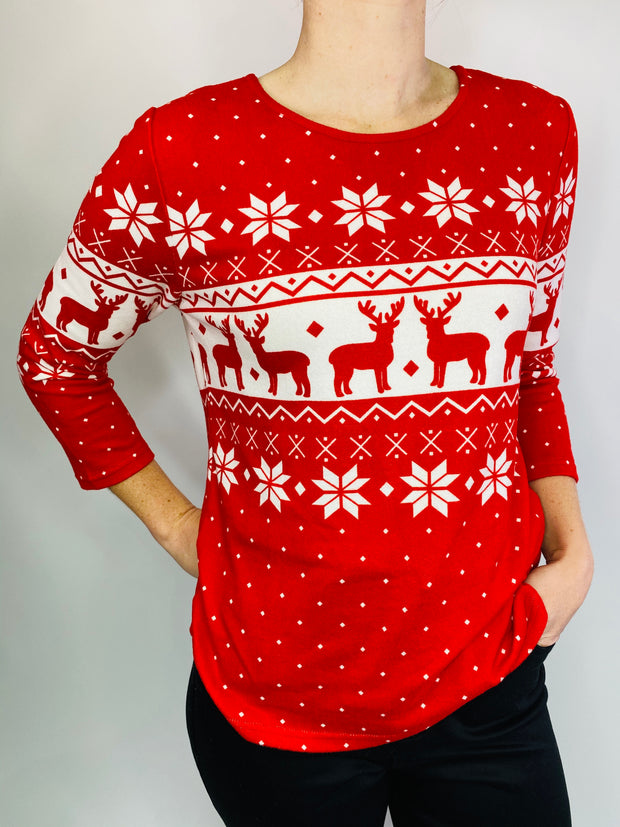 MITZY Fairisle Christmas Brushed Top