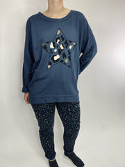 MITZY Star Animal Print Sweat Top