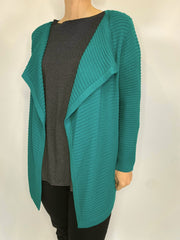 MITZY Ribbed Drape Short Cardigan