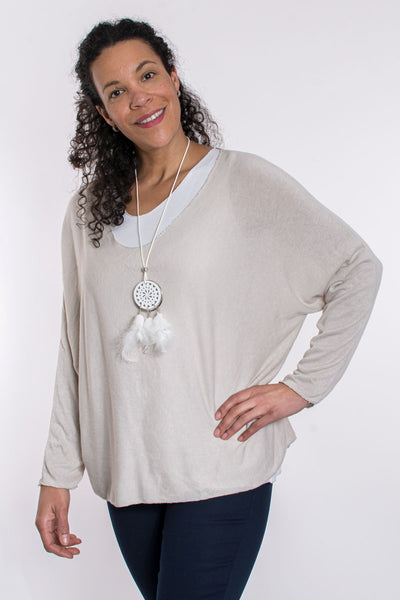 Layered top with necklace
