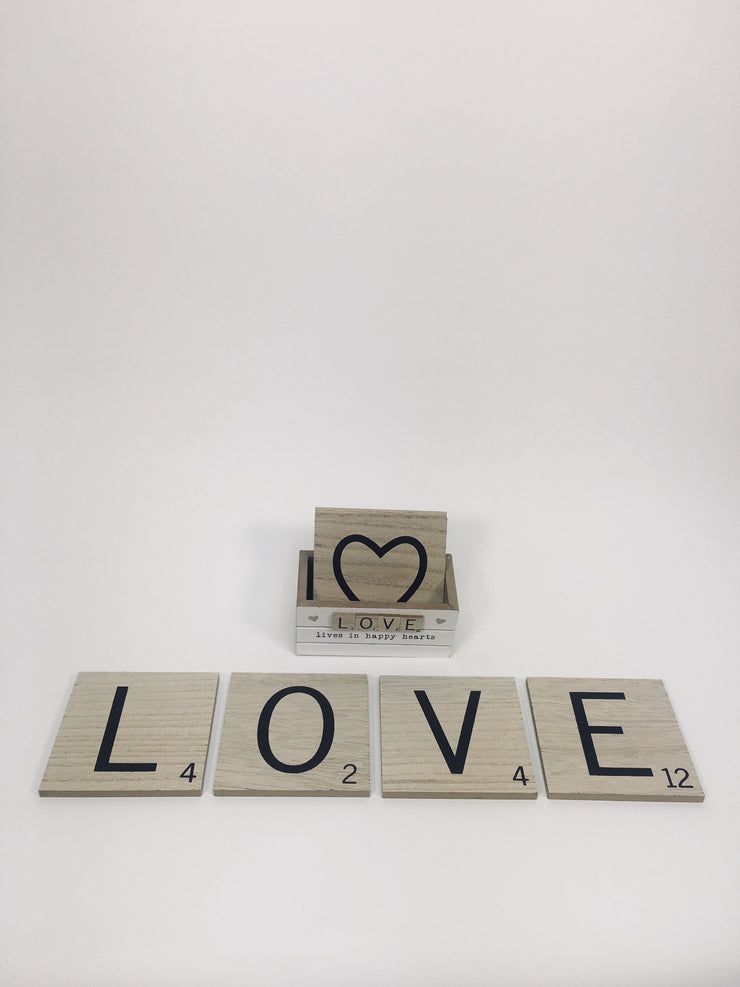 Set of 6 Love Scrabble Coasters