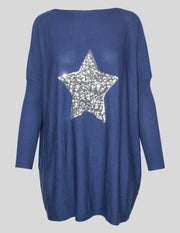 MITZY Sequin Star Oversized Jumper