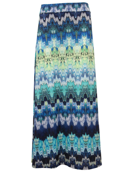 Watercolour Wave Print Maxi Skirt