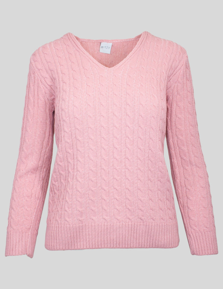 MITZY Long Sleeve V Neck Cable Jumper